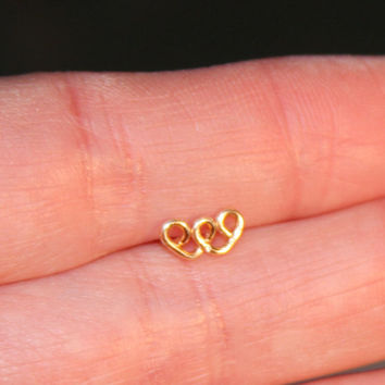Double Heart Nose Stud, tragus/cartilage Stud, Tiny Gold Nose Stud, Tiny Copper Nose Ring, Heart Nose Ring, Nose Ring