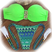 Green Bandeau Bikini Printed Bottom Swimsuit