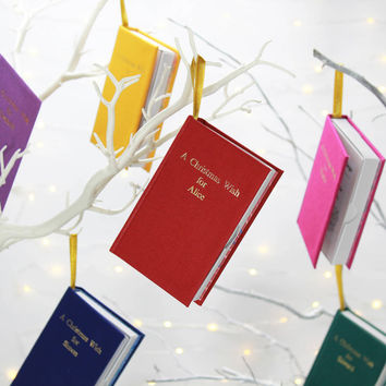 personalised book box christmas tree decoration by wit & wisdom | notonthehighstreet.com