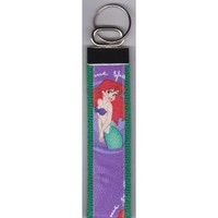 Tickled Pink Boutique Little Mermaid Ariel Wristlet Keychain Fob Purple