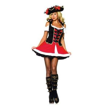 Sexy Game Garment Bright Red Backless Tube Top Pirate Halloween Game Uniform