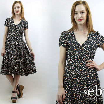 40s Style Dress 1940s Style Dress Secretary Dress Day Dress Graphic Dress Work Dress Vintage Black Printed Midi Dress XS S 40s Dress