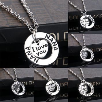 Free Family I Love You Heart Pendant Necklace Mom Daughter Sister Nana Grandma Mother Best Friends Choker Collier Jewelry Party Gifts