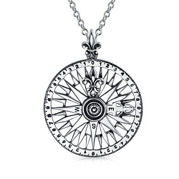 Compass Rose Long Distance Friendship Pendant Necklace Sterling Silver