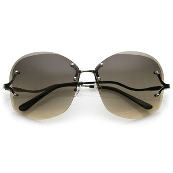 Women's Oversize Curved Low Temple Rimless Sunglasses C218