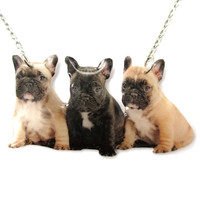 Realistic French Bulldog Puppies Shaped Pet Portrait Pendant Necklace | Handmade