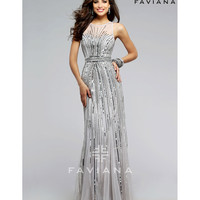 Faviana s7596 Silver Sleeveless Sequin Tulle Long Dress 2016 Prom Dresses
