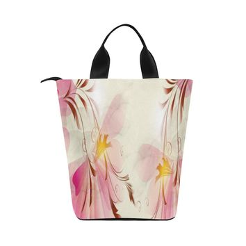 Pink Flowers Adult Nylon Cylinder Lunch Bag