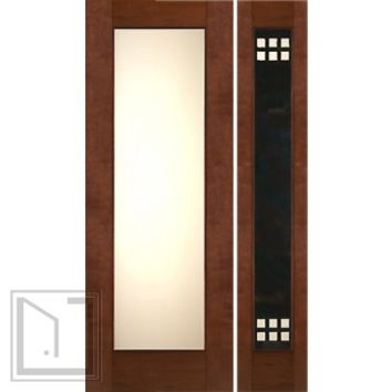"Prehung Prehung 2-1/4"" Contemporary Mahogany Door Heavy Iron Side Low-E Glass"
