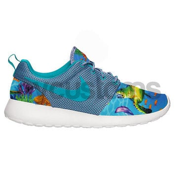 Nike Roshe Run Iron Purple Aquatic Sea Turtle Fish Custom Womens