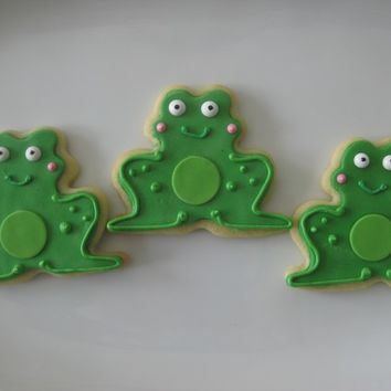 Adorable frog cookies will be all the Ribbit at your next party or get together. Set of 12 decorated frog sugar cookies.