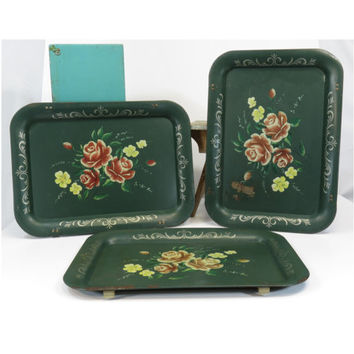 Metal TV Trays Tole Roses on Green (3) Silver Border Vintage