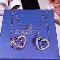 Swarovski Women Fashion New Love Heart Diamond Sterling Silver Necklace