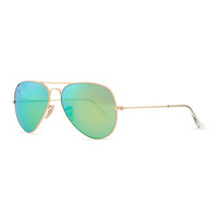 Aviator Sunglasses with Flash Lenses, Gold/Green Mirror - Ray-Ban