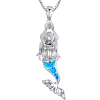 Sterling Silver Mermaid W. Blue and Green Fire Opal Pendant Necklace