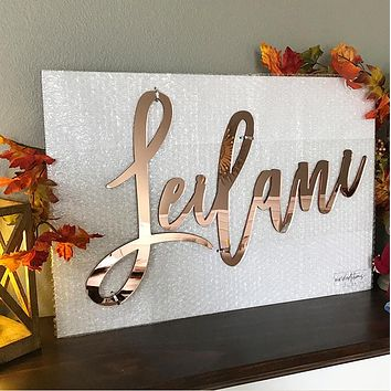 """24"""" Rose Gold Mirror Medium Personalized Name Sign"""