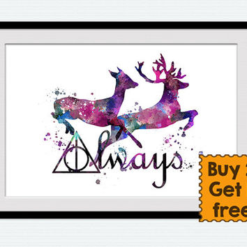 Harry Potter watercolor poster Always Harry Potter art print Always together purple wall decor Home decoration Anniversary gift  W14