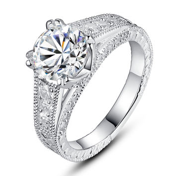 Sterling Silver Round Cubic Zirconia Engagement Ring