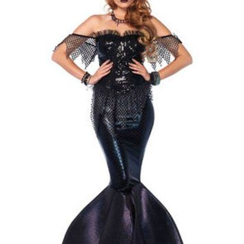 ESBI7E 2PC.Dark Water Siren,sequin bustier dress w/shimmer foam fin,jewel crown in BLACK