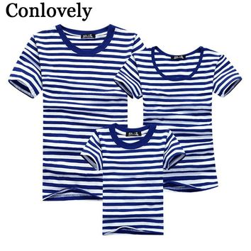 5a77d02b62b Summer T-Shirt Family Clothing Sailor Striped Dad Son T Shirt Fa