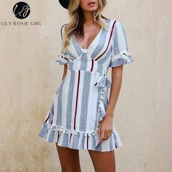 Lily Rosie Girl Blue Striped Wrap Dress V Neck Sexy Mini dress Lantern Short Sleeve 2018 Women Summer beach Party Wear Vestidos
