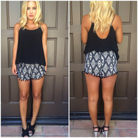 Somerset Aztec Print Shorts - BLACK