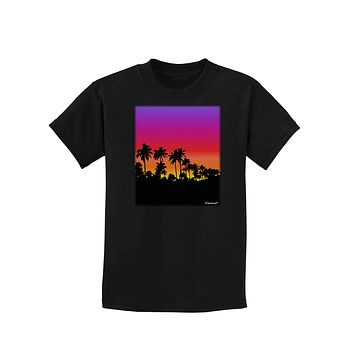 Palm Trees and Sunset Design Childrens Dark T-Shirt by TooLoud