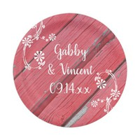 Rustic Red Barn Wood Country Wedding Paper Plate