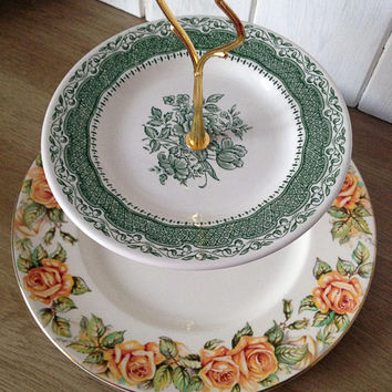 Pretty vintage two tier Royal Doulton Golden Rose and staffordshire green - vintage wedding high tea afternoon cupcake stand. VBB183