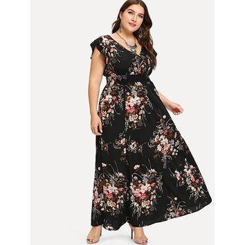 Plus Flounce Trim Shirred Waist Floral Dress
