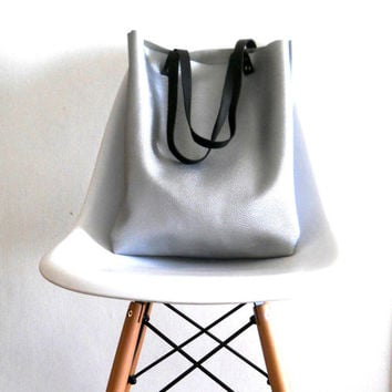 Silver Leather tote  Bag, for your every day use