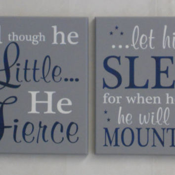 Set Of Two Signs Painted Gray And Navy Blue Baby Boy Nursery Decor New