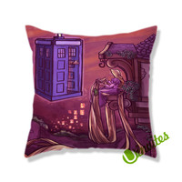 Tangled Dr Who Tardis Square Pillow Cover