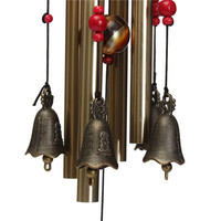 4 Tubes 5 Bells Bronze Yard Garden Outdoor Living Wind Chimes 65cm