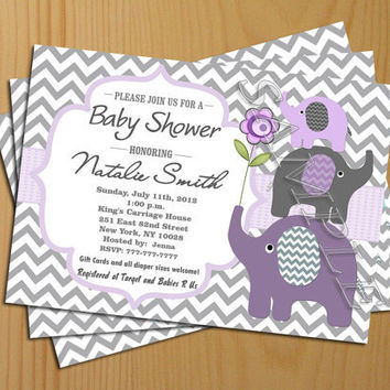 Chevron Baby Shower Invitation Girl Boy Invites FREE Thank You Card  Included Printable Baby Elephant Printable  Baby Shower Invitation Backgrounds Free