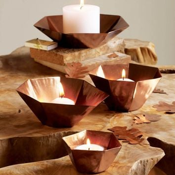 Geometric Copper Votive Bowls - Set of 4