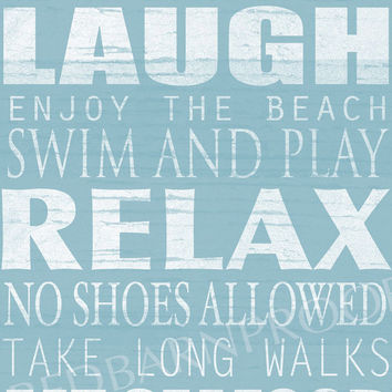 BEACH Sign, Cottage Rules Canvas, Personalized Canvas word art 18x24,  Family Rules, Lakehouse