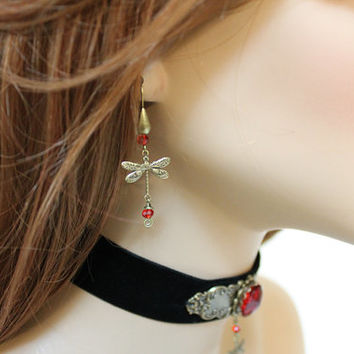 Dragonfly Earrings, Oxidized Brass Charm Dangle Earring, Red Crystal Whimsical Jewelry
