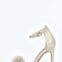 Fifi Faux Fur Fluffy Barely There Heels