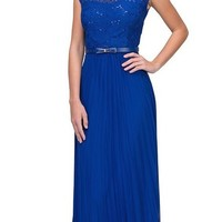 Cap Sleeves Belted Long Formal Dress Pleated Skirt Royal Blue