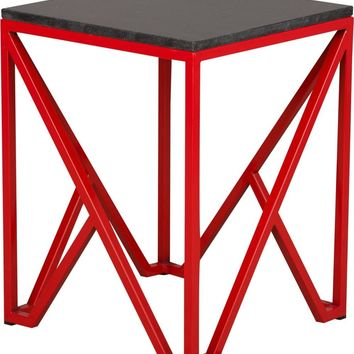 Kory End Table Powdercoated Red With A Black Granite Top