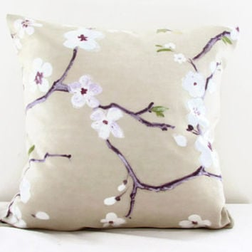 Cherry cushion cover, 16 inch cover, Prestigious Emi fabric, cherry blossom print, 100% cotton, blossom flower print, handmade in the UK