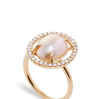 MO Exclusive: 18K Rose Gold Diamond and Pearl Slice Ring