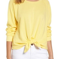 Caslon® Tie Front Cotton Blend Sweatshirt (Regular & Petite) | Nordstrom
