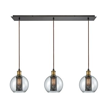 14530/3LP Bremington 3 Light Linear Pan Pendant In Tarnished Brass/Oil Rubbed Bronze With Clear Glass And Perforated Metal Cage