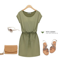 Solid Color Dress with Drawstring