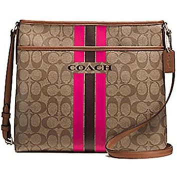 DCCK8X2 Original COACH Women's Varsity Stripe File Crossbody Bag In Signature - Khaki / Pink R