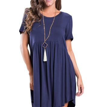 Navy Blue Short Sleeve Pullover Babydoll Style Casual Dress