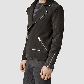 Mens Bryning Leather Biker Jacket (Airforce) | ALLSAINTS.com