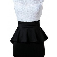 The Barcelona Black & White Peplum Dress - 29 N Under
